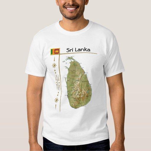 Mapa de Sri Lanka + Bandera + Camiseta del título Remeras