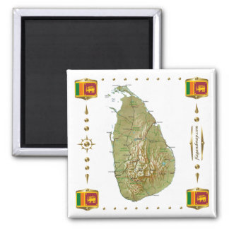 Mapa de Sri Lanka + Imán de las banderas