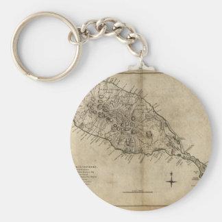 Mapa de St Christopher (St. San Cristobal), el Car Llavero Redondo Tipo Pin