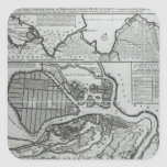 Mapa de St Petersburg, c.1750 Pegatina Cuadrada