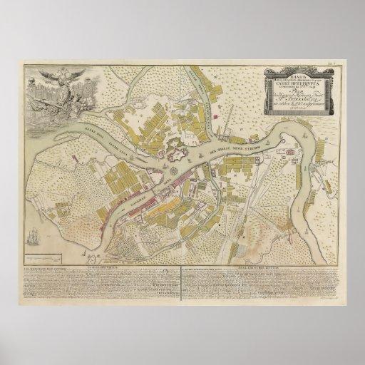 Mapa de St Petersburg, Rusia a partir de 1737 Póster