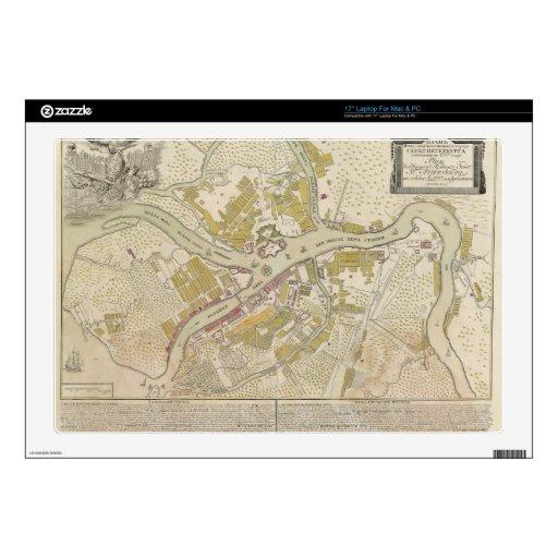 Mapa de St Petersburg, Rusia, creada en 1737 Skins Para Portátil