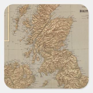 Mapa de Stereographical, islas británicas Pegatina Cuadrada
