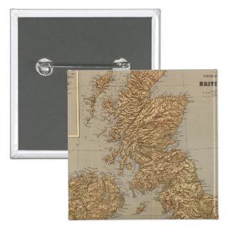Mapa de Stereographical, islas británicas Pin Cuadrada 5 Cm