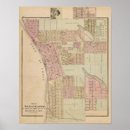 Mapa de Stillwater, el condado de Washington, Minn Póster