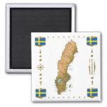 Mapa de Suecia + Imán de las banderas