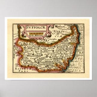 """Mapa de """"Suffolck"""" el condado de Suffolk Póster"""