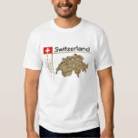 Mapa de Suiza + Bandera + Camiseta del título Poleras