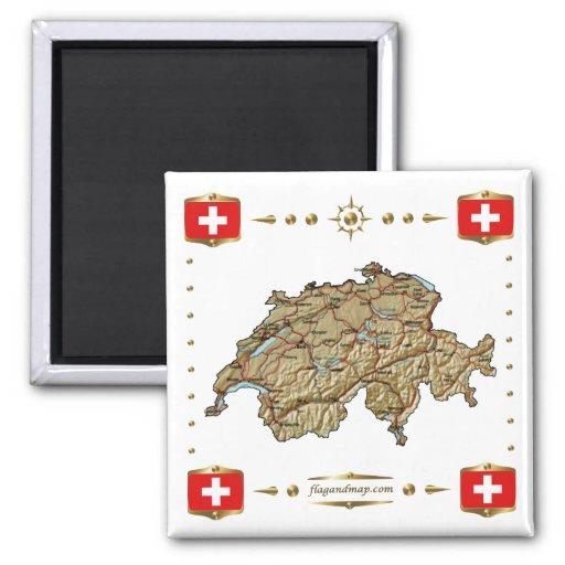 Mapa de Suiza + Imán de las banderas