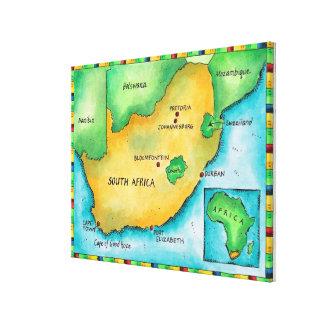Mapa de Suráfrica 2 Lienzo Envuelto Para Galerías