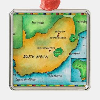 Mapa de Suráfrica Adorno Navideño Cuadrado De Metal