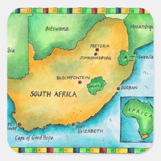 Mapa de Suráfrica Pegatina Cuadrada