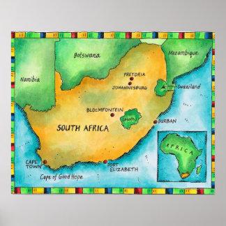 Mapa de Suráfrica Póster
