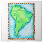 Mapa de Suramérica 2 Azulejo Cuadrado Grande