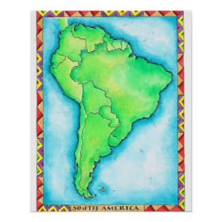 Mapa de Suramérica 2 Poster