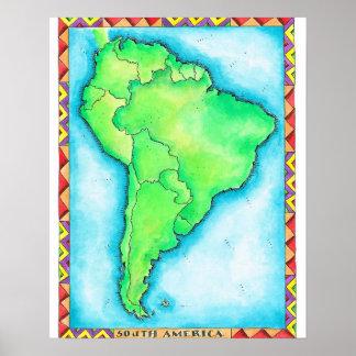 Mapa de Suramérica 2 Posters