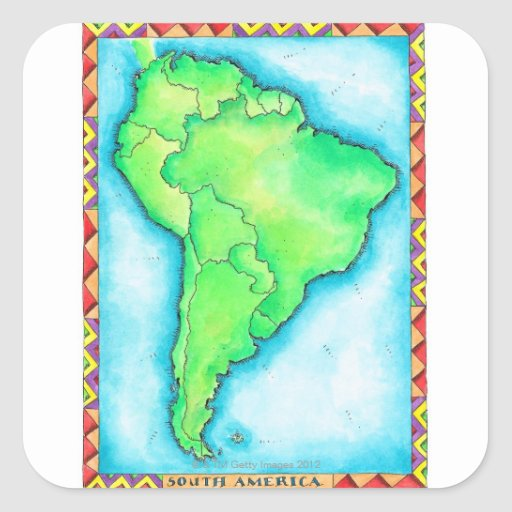 Mapa de Suramérica 2 Calcomanías Cuadradas Personalizadas