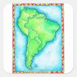 Mapa de Suramérica 2 Pegatina Cuadrada