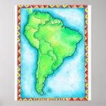 Mapa de Suramérica 2 Póster