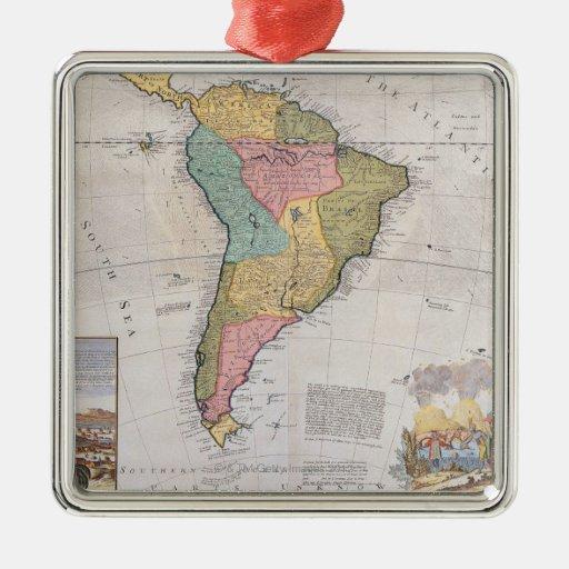 Mapa de Suramérica 3 Adorno Cuadrado Plateado