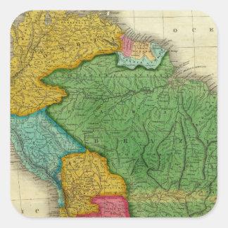 Mapa de Suramérica 3 Calcomanias Cuadradas