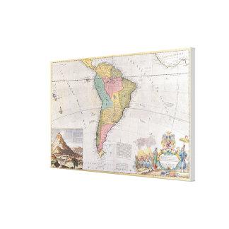 Mapa de Suramérica 3 Impresión En Lienzo