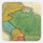 Mapa de Suramérica 3 Calcomanía Cuadradas Personalizadas