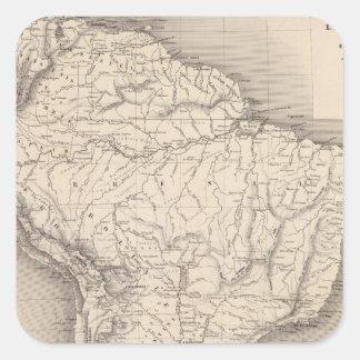 Mapa de Suramérica 4 Calcomanía Cuadradas Personalizada