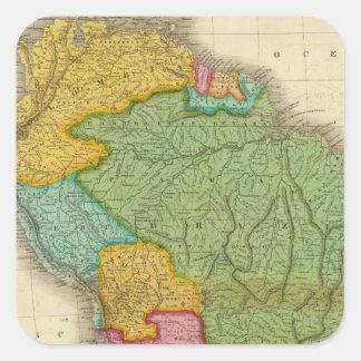 Mapa de Suramérica 4 Pegatina Cuadradas