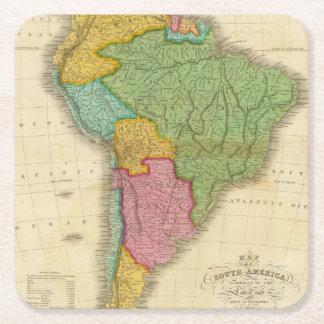 Mapa de Suramérica 4 Posavasos De Cartón Cuadrado