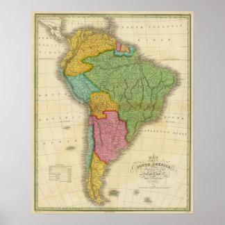 Mapa de Suramérica 4 Póster