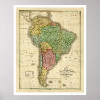 Mapa de Suramérica de Finley 1826 Poster