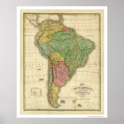 Mapa de Suramérica de Finley 1826 Póster