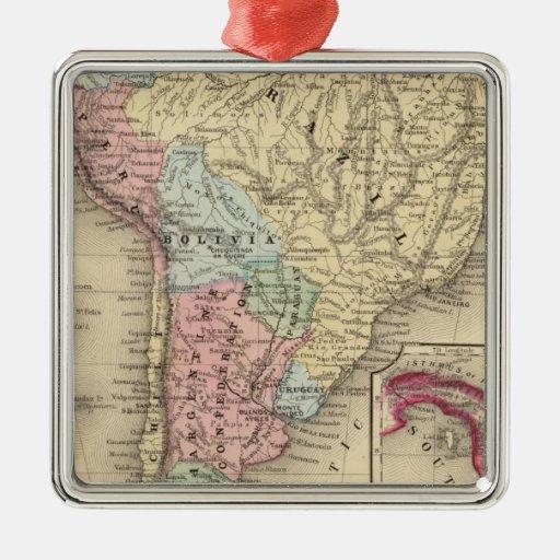 Mapa de Suramérica de Mitchell Adorno Navideño Cuadrado De Metal