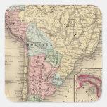 Mapa de Suramérica de Mitchell Pegatina Cuadrada