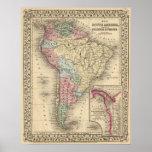 Mapa de Suramérica de Mitchell Póster