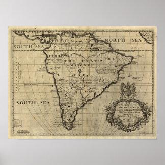 Mapa de Suramérica del vintage, 1690's (circa) Póster