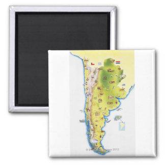 Mapa de Suramérica Imán Cuadrado
