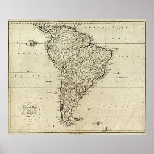 Mapa de Suramérica Impresiones