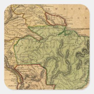 Mapa de Suramérica por Worcester Pegatina Cuadrada