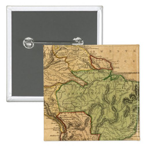 Mapa de Suramérica por Worcester Pin Cuadrado