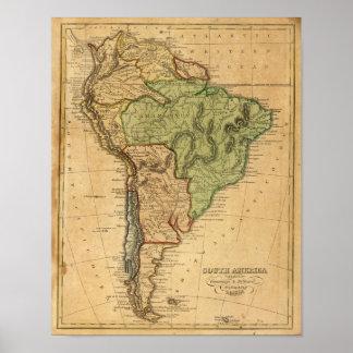 Mapa de Suramérica por Worcester Póster