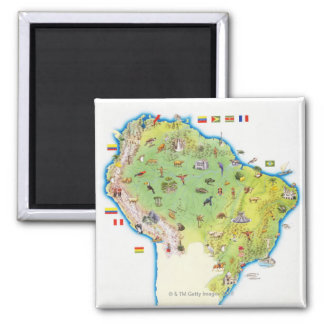 Mapa de Suramérica septentrional Imán Cuadrado