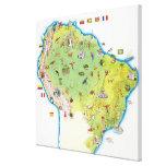 Mapa de Suramérica septentrional Impresión En Lienzo Estirada