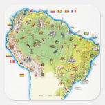 Mapa de Suramérica septentrional Calcomanías Cuadradas Personalizadas