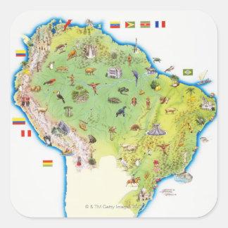 Mapa de Suramérica septentrional Pegatina Cuadrada
