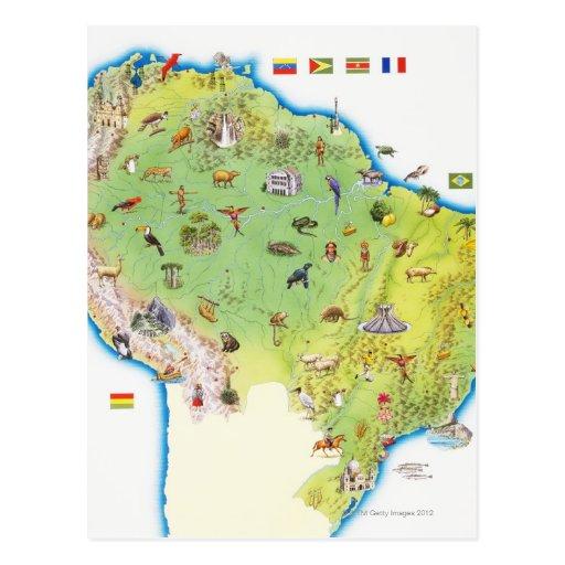 Mapa de Suramérica septentrional Tarjeta Postal