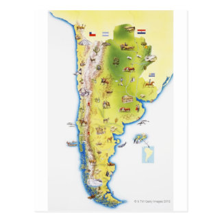 Mapa de Suramérica Tarjetas Postales
