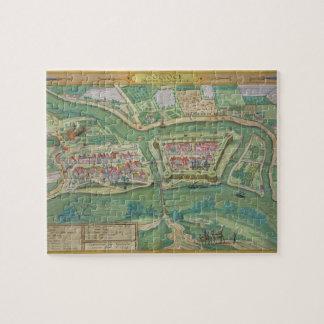"""Mapa de Szolnok, de """"Civitates Orbis Terrarum"""" cer Puzzles"""