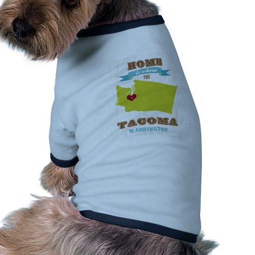 Mapa de Tacoma, Washington - casero es donde está  Camiseta Con Mangas Para Perro